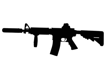 M4 with suppressor - special forces rifle black silhouette 版權商用圖片 - 123862893
