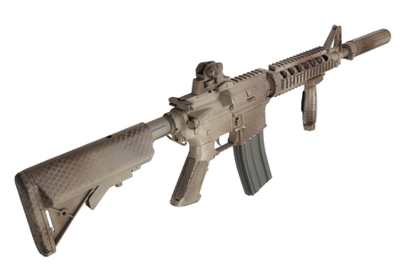 M4 with suppressor  - special forces rifle isolated on a white background 版權商用圖片 - 123862938