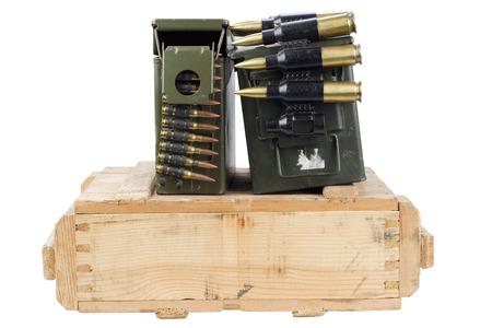 army box of ammunition isolated on white background