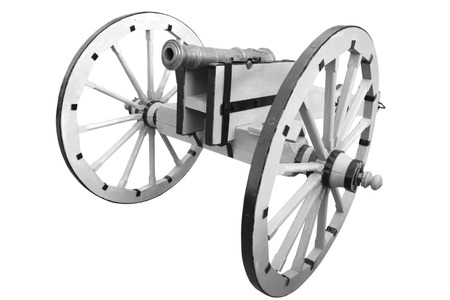 old cannon. vintage gunpowder weapon isolated on white background