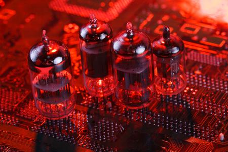 Electronic vacuum tube on circuit board