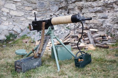 WWI german machine gun MG 08 with amunition belt Stock Photo