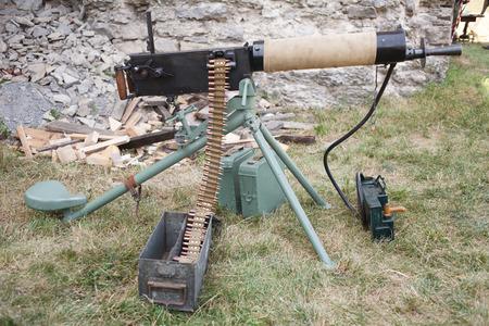 WWI german machine gun MG 08 with amunition belt