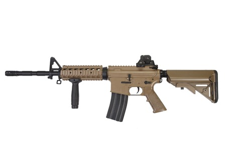 M4 special forces assault rifle in tan color isolated on a white background
