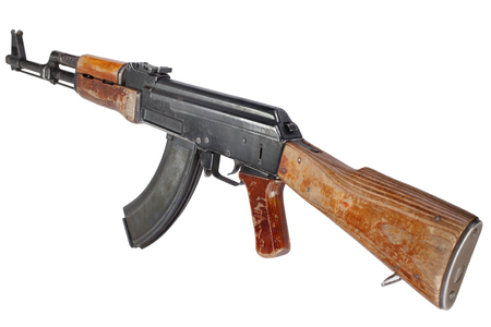 Rare first model AK - 47 assault rifle isolated on white