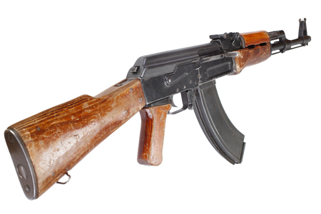 Rare first model AK - 47 assault rifle isolated on white Stock Photo