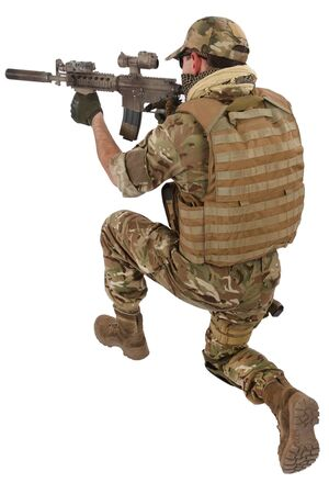 Private Military Company contractor with assault rifle on white background