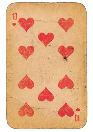 Ten of Hearts old grunge style soviétique carte à jouer isolated on white