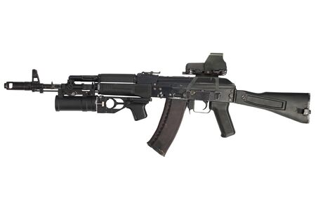 modern AK 74M assault rifle with holographic weapon sight and underbarrel grenade launcher isolated on white