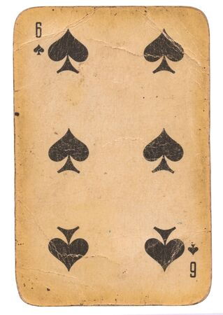 Six of Spades old grunge soviet style playing card isolated on white