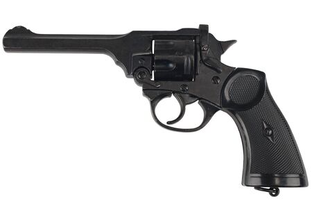 Mk IV Top-Break Revolver service pistol for the armed forces of the United Kingdom, and the British Empire and Commonwealth isolated on white
