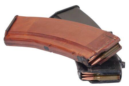 AK 47 rifle magazin with cartridges isolated on white background