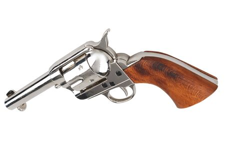 single action army peacemaker - wild west revolver isolated on white background
