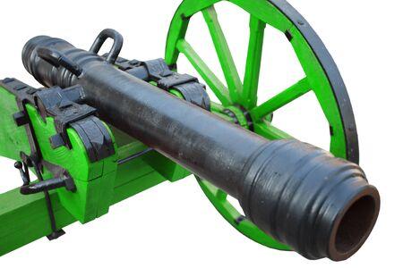 retro vintage gunpowder cannon dates to the 17th century isolated on white background Stock Photo