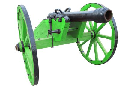 retro vintage gunpowder cannon dates to the 17th century isolated on white background Stock Photo