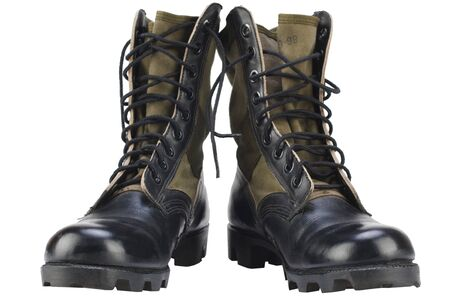 New brand US army pattern jungle boots isolated on white background Stock Photo