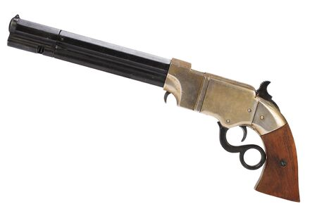 Old vintage weapon - Volcanic Repeating Pistol isolated on white background 写真素材