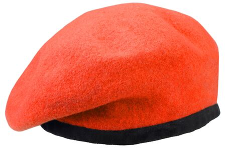 Army uniform red beret isolated