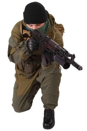 pro-Russian militiaman with ak-47 rifle with under-barrel grenade launcher isolated on white background