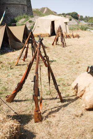 Rifles pyramids with ammunition, First World War-era reenactment