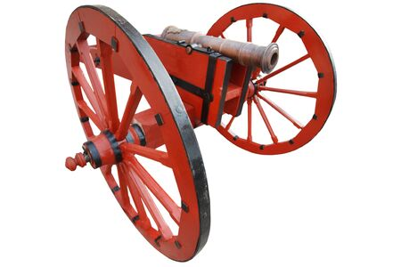old vintage red gunpowder post-medieval artillery cannon isolated on white background Stock Photo