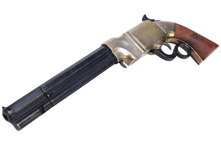 Old vintage weapon - Volcanic Repeating Pistol isolated on white background Stok Fotoğraf
