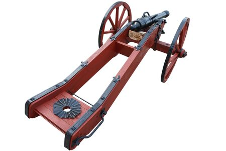 old vintage red gunpowder post-medieval artillery cannon isolated on white background 版權商用圖片