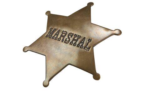 Old Western-style marshal badge isolated on white background