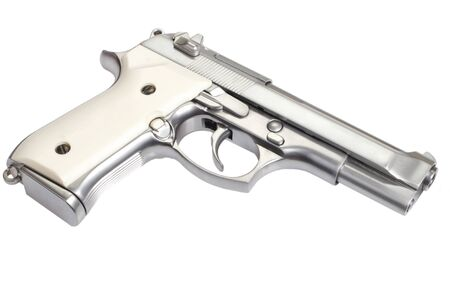 M92 stainless steel gun isolated on white background Stock Photo