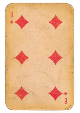 Six of Diamonds old grunge soviet style playing card isolated on white