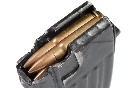 ak gun magazin with 7,62 mm ammo isolated on white background