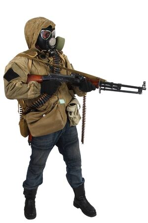 post-apocalyptic warrior in gas mask with machine gun isolated on white