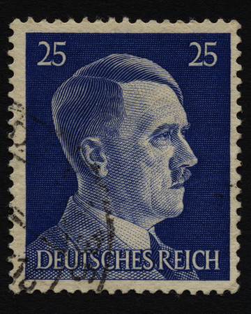 NAZI GERMANY - CIRCA 1941. Postage Stamp with portrait of Adolf Hitler a German politician and leader of the Nazi Party 1933-1945.