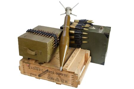 Army box of ammunition with rocket-propelled grenade isolated. Text on ammunitions box in russian - cartridge type and caliber with lot number. Imagens