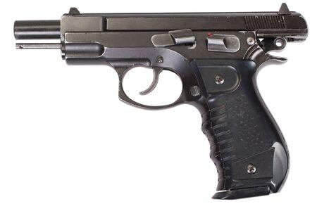 Modern semi-automatic pistol isolated on white