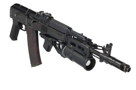 modern 5.45 mm AK 74M assault rifle with 40 mm underbarrel grenade launcher isolated on white background