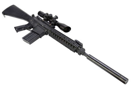 AR-15 based sniper rifle with silencer isolated on a white background