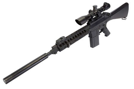 AR-15 based sniper rifle with silencer isolated on a white background Stock fotó