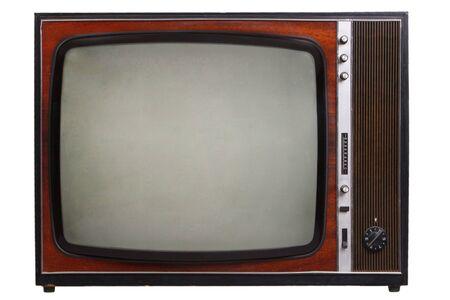 Vintage retro black and white TV isolated on white background