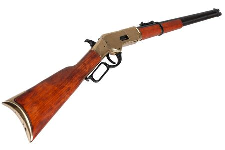 Wild west period  lever-action repeating rifle  isolated on white background
