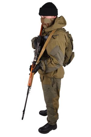 insurgent sniper in russian type of uniform with SVD sniper rifle isolated on white background