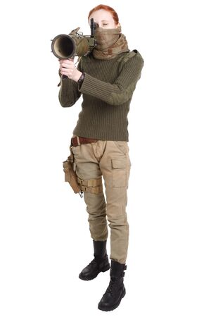 girl mercenary with RPG rocket launcher isolated on white Stock Photo