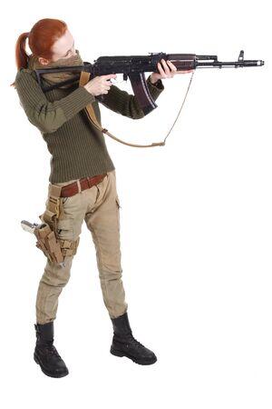 girl mercenary with ak-47 rifle isolated on white background