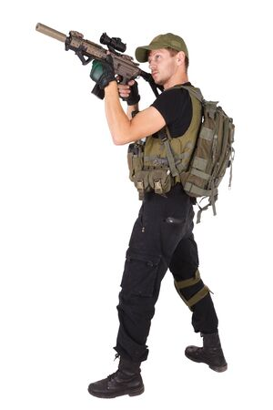 Private military contractor - rifleman with assault rifle isolated on white Banque d'images