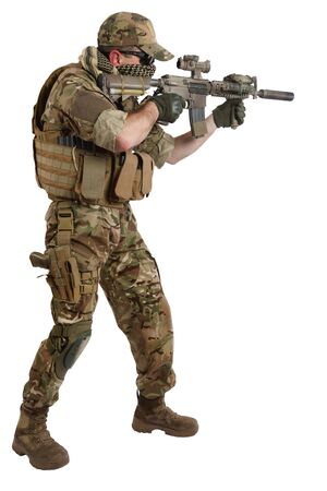 special force operator with carbine M4 isolated on white