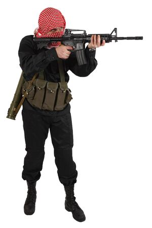 guerillas in black uniform with keffiyeh with assault rifle isolated on white Stock Photo - 141617994