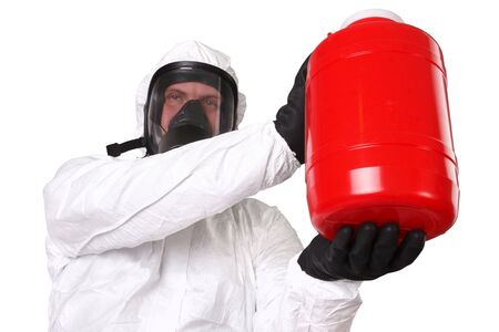 Medic in hazardous materials protective suit isolated on white