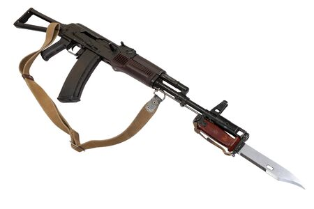 AK 74 assault rifle with bayonet knife isolated on white background