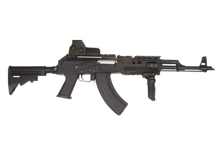 AK 47 modern accessories on white background