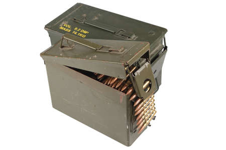 .50 and .30 caliber ammo cans with ammunition belt isolated on white
